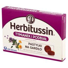 Herbitussin Tymianek i podbiał Pastylki na gardło Suplement diety 12 pastylek