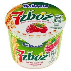Bakoma 7 zbóż Jogurt z malinami i ziarnami zbóż 300 g