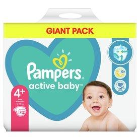 Pampers Active Baby, rozmiar4+, 70pieluszek, 10kg-15kg