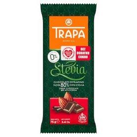 Trapa Czekolada gorzka 80% kakao ze stewią bez dodatku cukru 75 g
