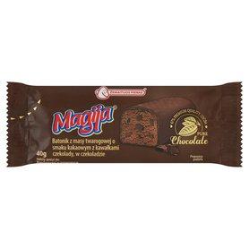 Magija Batonik z masy twarogowej o smaku kakaowym z kawałkami czekolady w czekoladzie 40 g