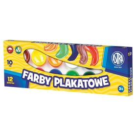 Astra Farby plakatowe 12 kolorów po 10 ml