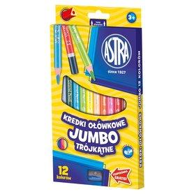 Astra Kredki ołówkowe Jumbo trójkątne 12 kolorów