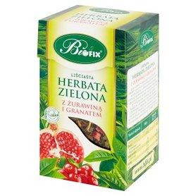 Bifix Herbata zielona liściasta z żurawiną i granatem 100 g