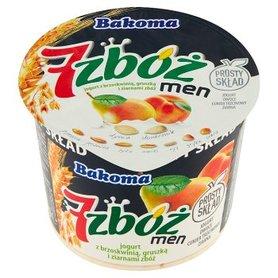 Bakoma 7 zbóż men Jogurt z brzoskwinią gruszką i ziarnami zbóż 300 g