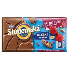 Orion Studentská Czekolada mleczna z orzechami i kawałkami galaretki o smaku wiśniowym 180 g