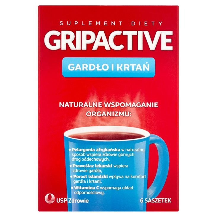 Gripactive Gardło i krtań Suplement diety 6 saszetek (2)