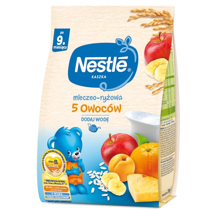 Nestlé Kaszka mleczno-ryżowa 5 owoców dla niemowląt po 9. miesiącu 230 g (1)