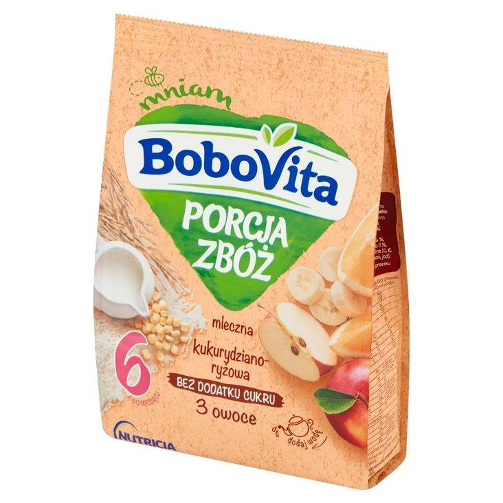 BoboVita Porcja Zbóż Kaszka mleczna kukurydziano-ryżowa 3 owoce po 6 miesiącu 210 g (1)