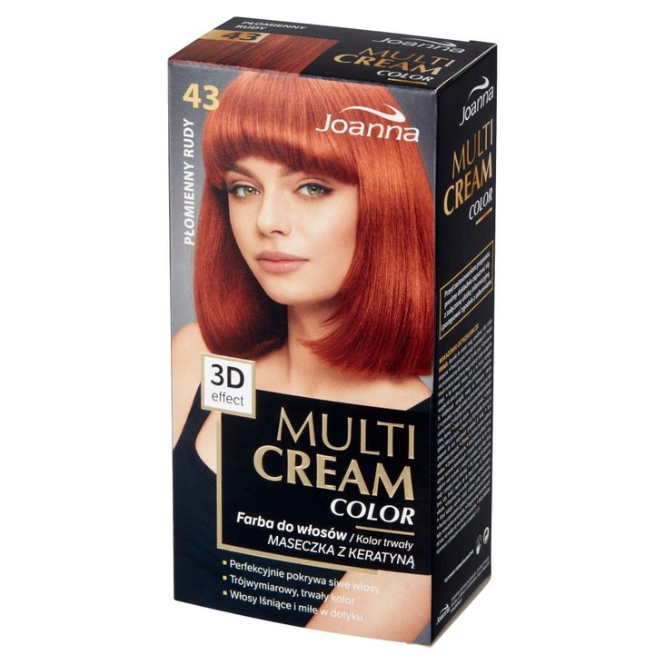 Joanna Multi Cream Color Farba do włosów płomienny rudy 43 (1)