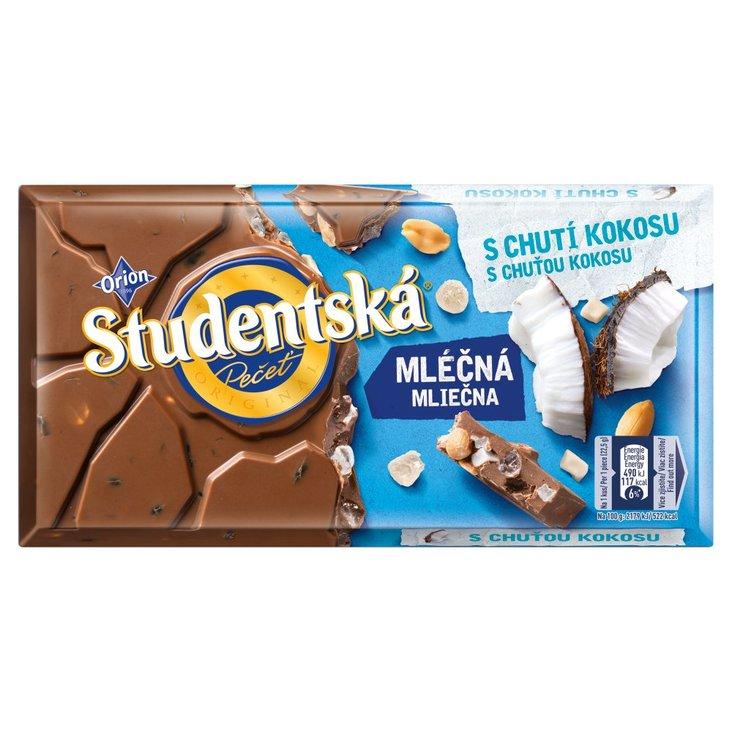 Orion Studentská Czekolada mleczna z orzechami i kawałkami galaretki o smaku kokosowym 180 g (1)
