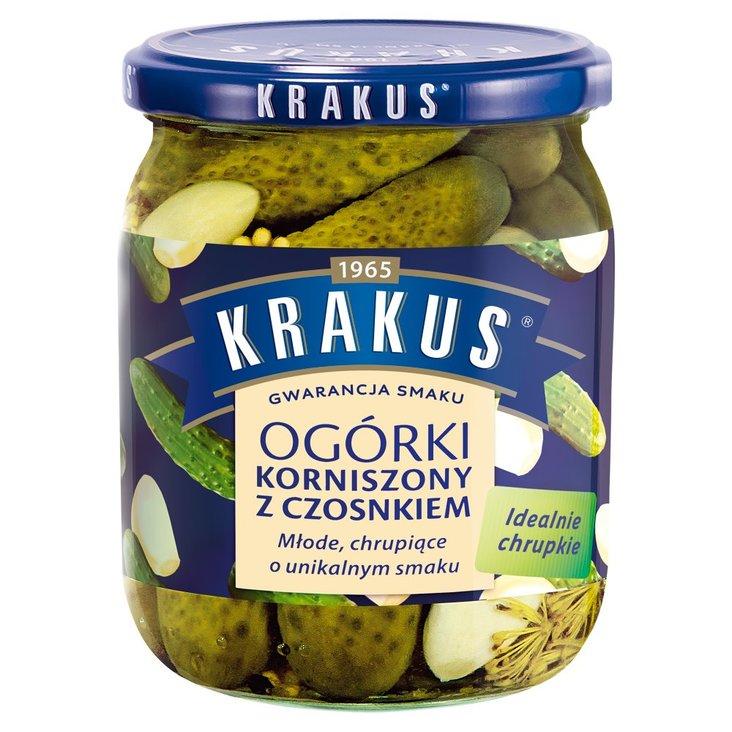 Krakus Ogórki korniszony z czosnkiem 500 g (1)