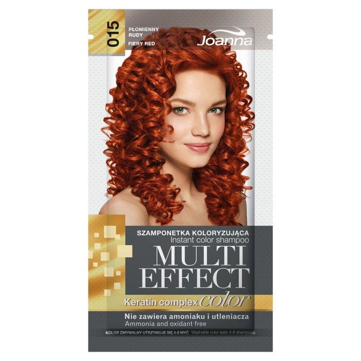 Joanna Multi Effect color Szamponetka koloryzująca płomienny rudy 015 35 g (1)