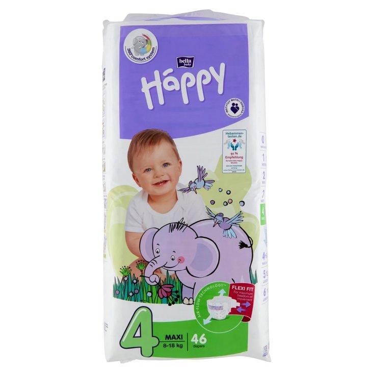 Bella Baby Happy Pieluszki jednorazowe 4 maxi 8-18 kg 46 sztuk (1)