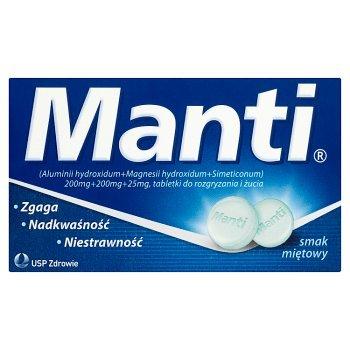 Manti 200 mg + 200 mg  + 25 mg Tabletki do rozgryzania i żucia smak miętowy 8 tabletek (2)