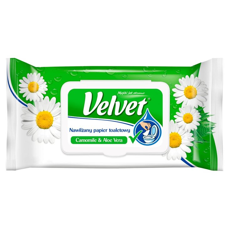 Velvet Camomile & Aloe Vera Nawilżany papier toaletowy 42 sztuki (2)