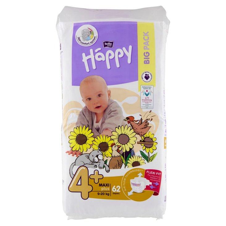 Bella Baby Happy Pieluszki jednorazowe 4+ maxi plus 9-20 kg 62 sztuki (1)