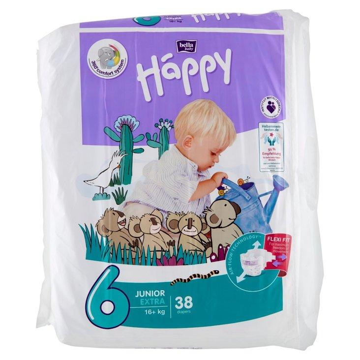 Bella Baby Happy Pieluszki jednorazowe 6 junior extra 16+ kg 38 sztuk (1)