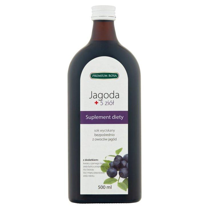Premium Rosa Suplement diety sok wyciskany bezpośrednio jagoda + 5 ziół 500 ml (1)