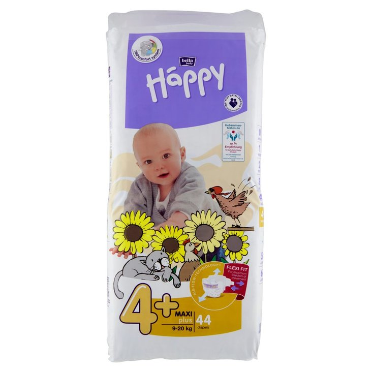 Bella Baby Happy Pieluszki jednorazowe 4+ maxi plus 9-20 kg 44 sztuki (1)