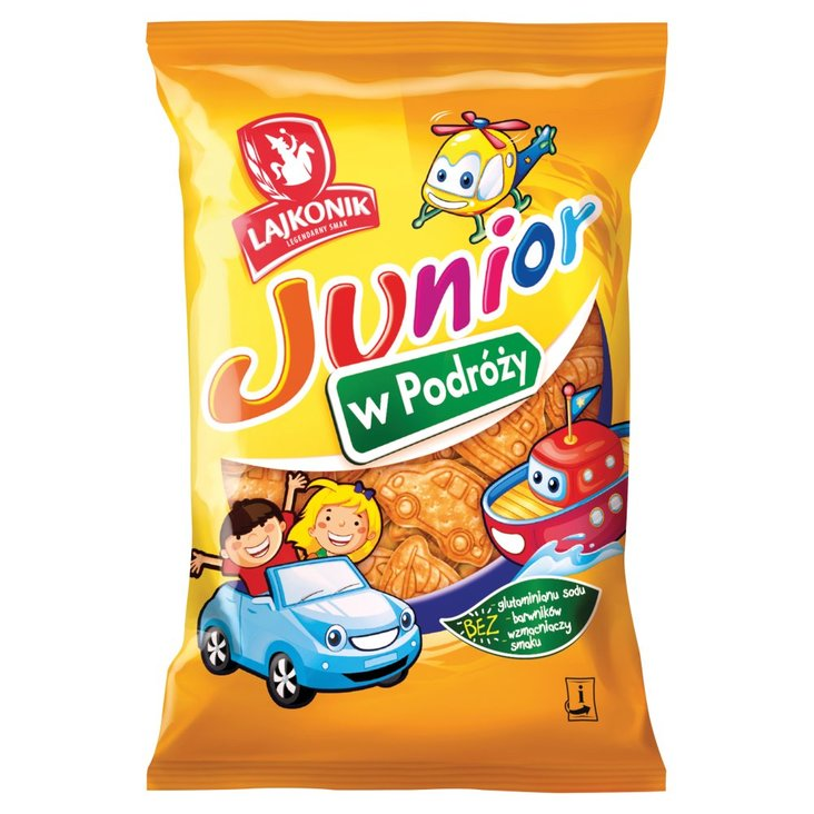 Lajkonik Junior W Podróży Drobne pieczywo o smaku waniliowym 100 g (1)