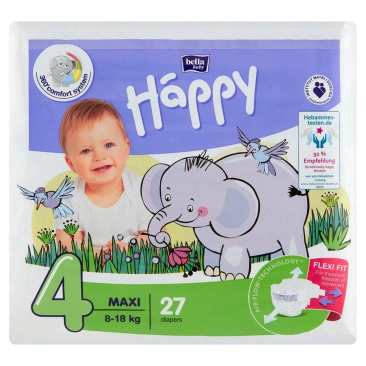 Bella Baby Happy Pieluszki jednorazowe 4 maxi 8-18 kg 27 sztuk (1)