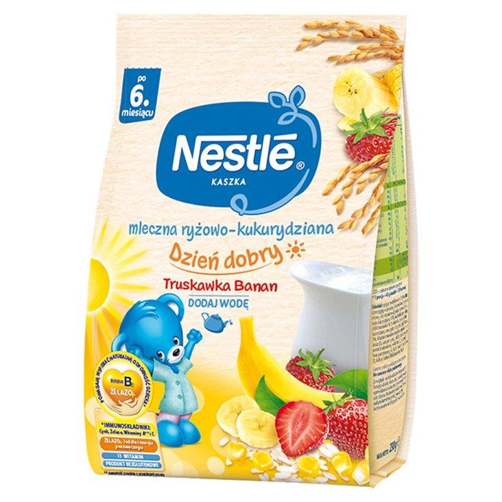 Nestlé Kaszka dzień dobry mleczna ryżowo-kukurydziana truskawka banan po 6. miesiącu 230 g (1)