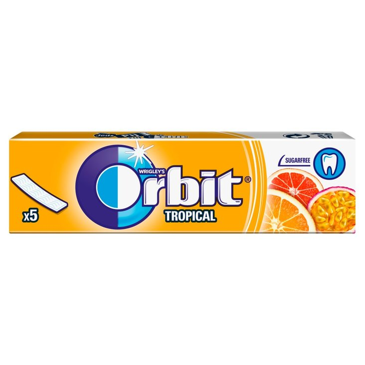 Orbit Tropical Guma do żucia bez cukru 13 g (5 sztuk) (1)