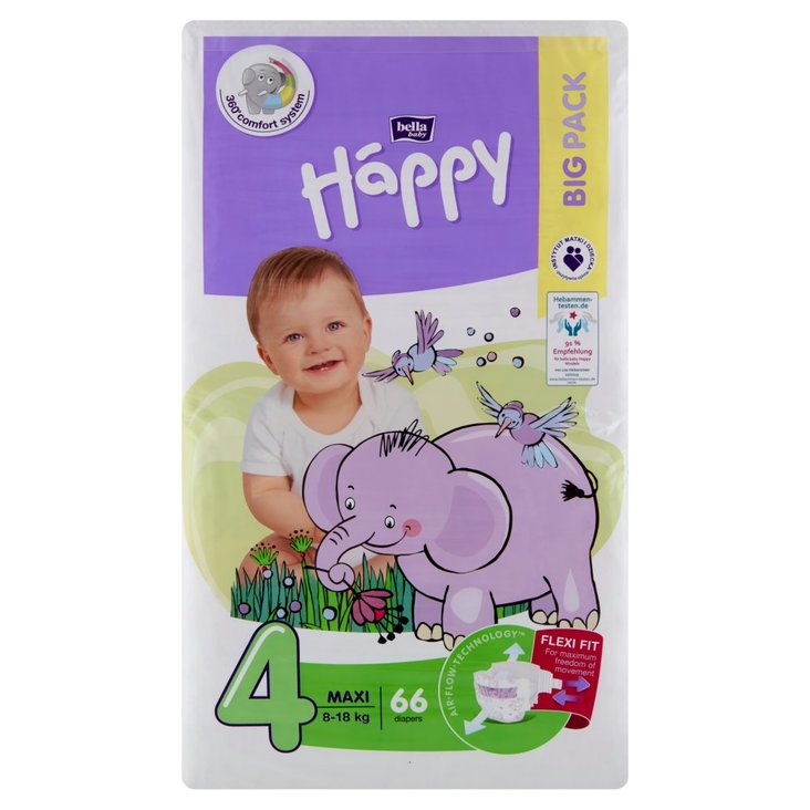 Bella Baby Happy Pieluszki jednorazowe 4 maxi 8-18 kg 66 sztuk (1)
