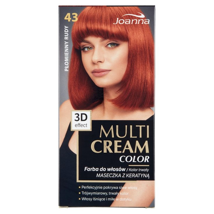 Joanna Multi Cream Color Farba do włosów płomienny rudy 43 (2)