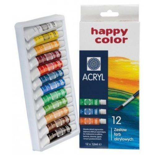 HAPPY COLOR Farby akrylowe 12 kolorów (1)