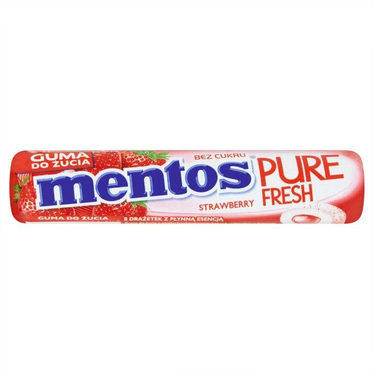 Mentos Pure Fresh Strawberry Guma do żucia bez cukru 15 g (8 sztuk) (1)