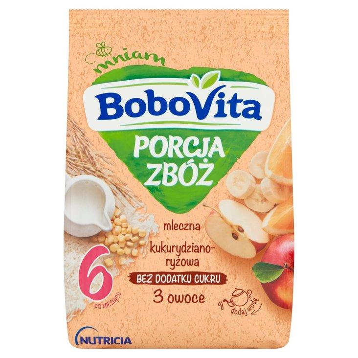 BoboVita Porcja Zbóż Kaszka mleczna kukurydziano-ryżowa 3 owoce po 6 miesiącu 210 g (2)