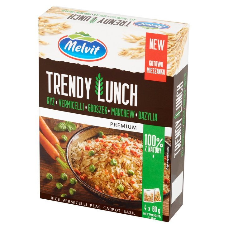 Melvit Premium Trendy Lunch ryż vermicelli groszek marchew bazylia 320 g (4 x 80 g) (1)