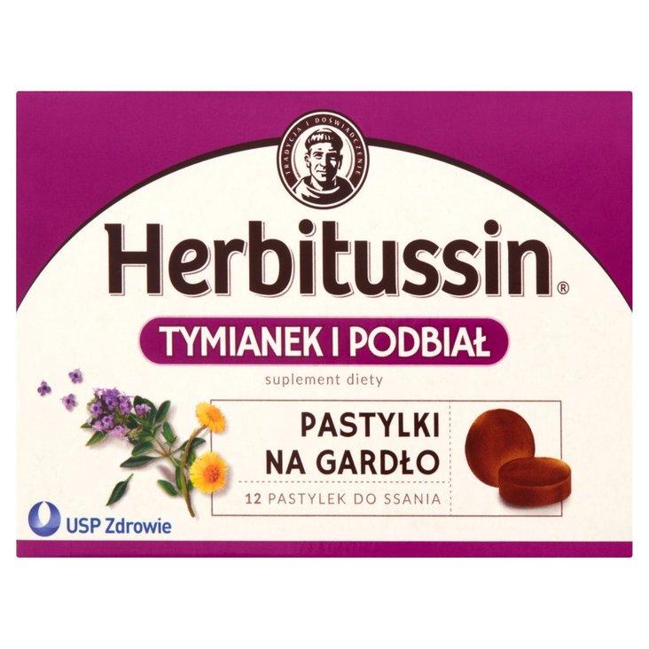 Herbitussin Tymianek i podbiał Pastylki na gardło Suplement diety 12 pastylek (2)