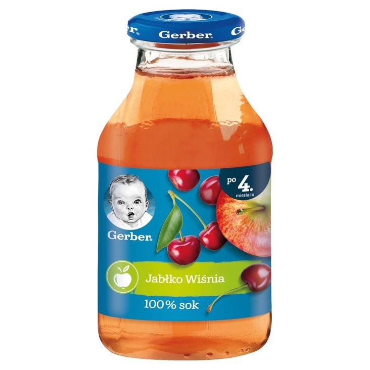 Gerber Sok 100% jabłko wiśnia dla niemowląt po 4. miesiącu 200 ml (1)