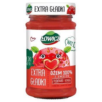 Łowicz Dżem 100% z owoców extra gładki truskawka z acerolą 235 g (1)