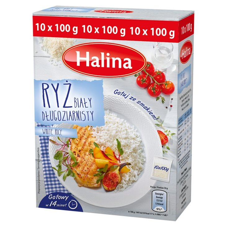 Halina Ryż biały długoziarnisty 1 kg (10 torebek) (1)