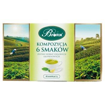 Bifix Zestaw herbat zielonych ekspresowych kompozycja 6 smaków 120 g (60 x 2 g) (2)