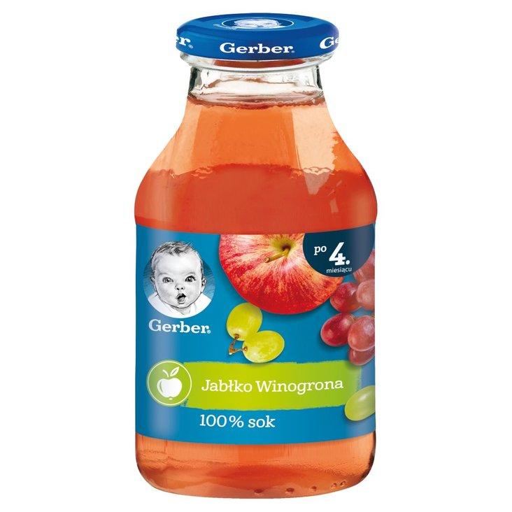 Gerber Sok 100% jabłko winogrona dla niemowląt po 4. miesiącu 200 ml (1)