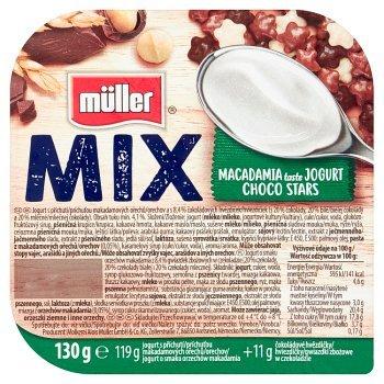 Müller Mix Jogurt o smaku orzechów makadamia z gwiazdkami zbożowymi w czekoladzie 130 g (1)