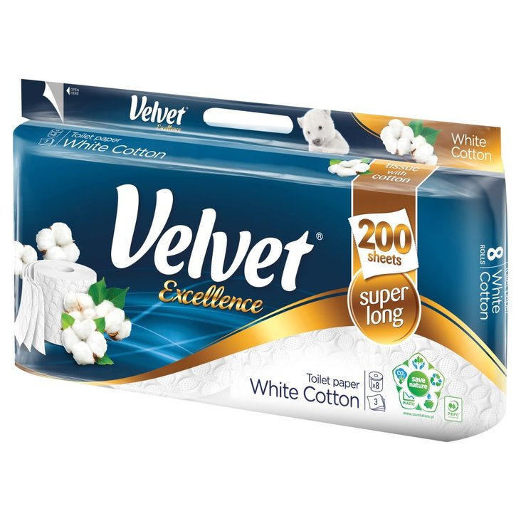 Velvet Excellence White Cotton Papier toaletowy 8 rolek (1)