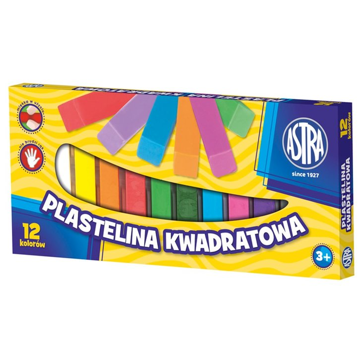 Astra Plastelina kwadratowa 12 kolorów (1)