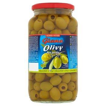 Giana Hiszpańskie oliwki zielone bez pestki w lekko słonej zalewie 880 g (1)