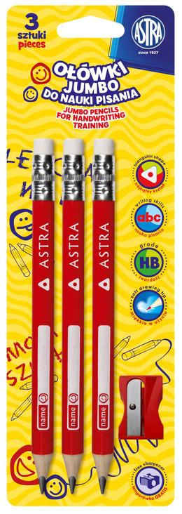 Astra Ołówki do nauki pisania + temperówka biały 3 szt. (1)