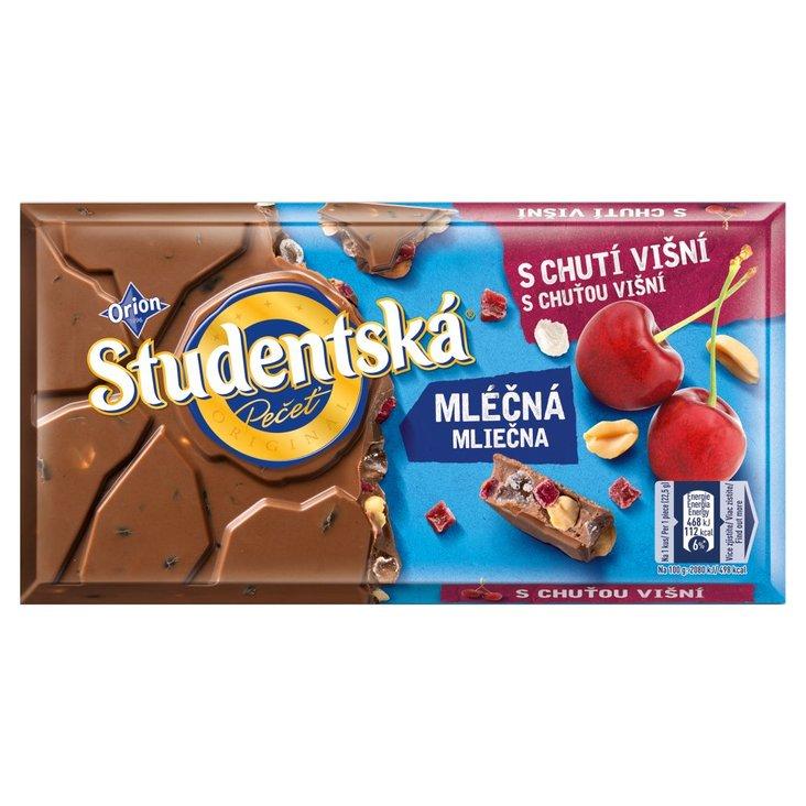 Orion Studentská Czekolada mleczna z orzechami i kawałkami galaretki o smaku wiśniowym 180 g (1)