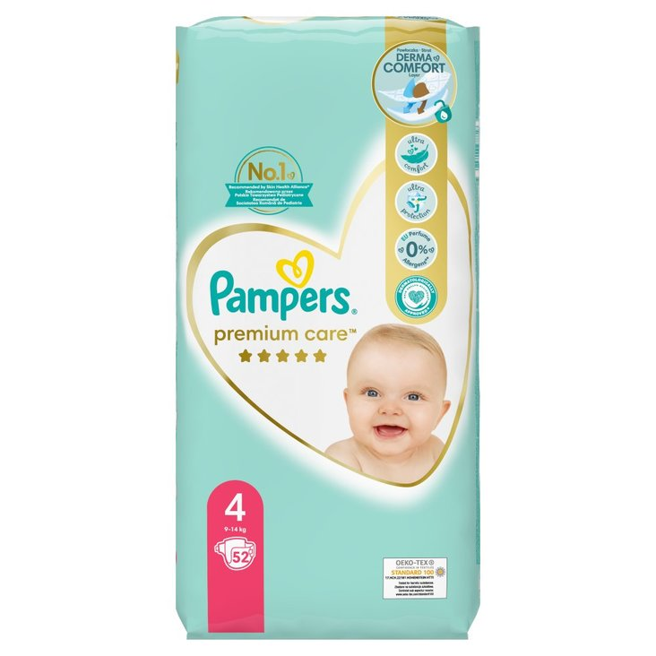 Pampers Premium Care, Rozmiar 4, 52 pieluszki, 9kg-14kg (1)