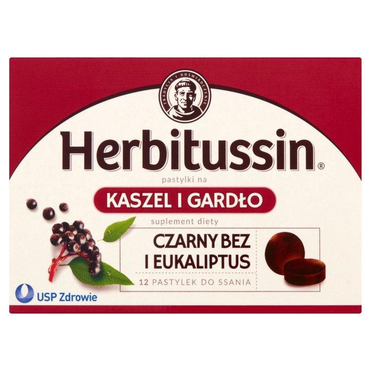 Herbitussin Czarny bez i eukaliptus Pastylki na kaszel i gardło Suplement diety 12 pastylek (2)